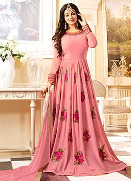 Ayesha Takia Pink Georgette Abaya style Anarkali Suit