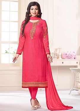 Ayesha Takia Pink Georgette Straight Suit