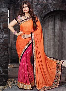 Ayesha Takia Pink N Orange Half N Half Saree