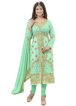 Ayesha Takia Pista Green Georgette Straight Suit