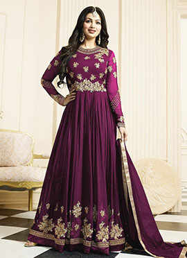 Ayesha Takia Purple Georgette Anarkali Suit
