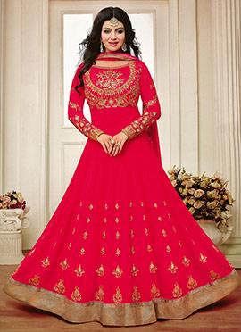 Ayesha Takia Red Abaya Style Anarkali Suit