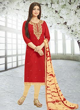 Ayesha Takia Red Chanderi Silk Churidar Suit