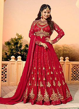 Ayesha Takia Red Embroidered Anarkali Suit
