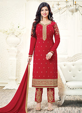 Ayesha Takia Red Georgette Straight Pant Suit