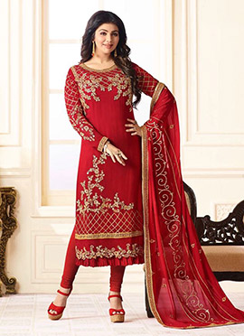 Ayesha Takia Red Georgette Straight Suit
