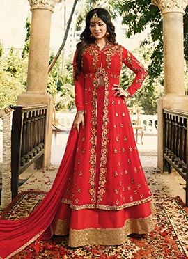 Ayesha Takia Red Long Choli Umbrella Lehenga