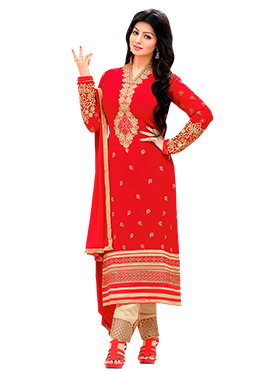 Ayesha Takia Red Straight Pant Suit