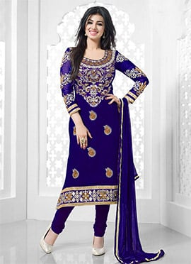 Ayesha Takia Royal Blue Churidhar Suit