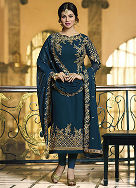 Ayesha Takia Teal Blue Embroidered Straight Suit