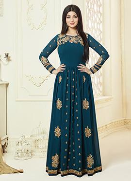 Ayesha Takia Teal Blue Georgette Anarkali Suit