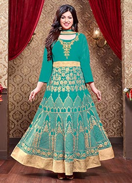 Ayesha Takia Turquoise Green Art Silk Anarkali Suit