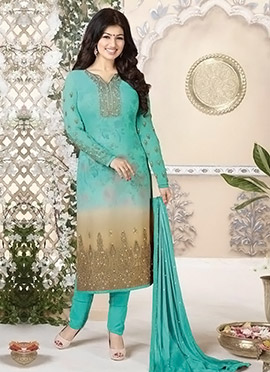 Ayesha Takia Turquoise Straight Pant Suit