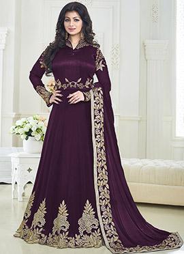 Ayesha Takia Wine Abaya Style Anarkali Suit