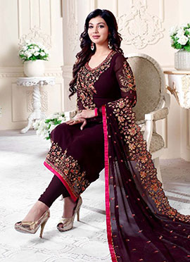 Ayesha Takia Wine Embroidered Straight Suit