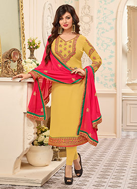 Ayesha Takia Yellow Georgette Churidar Suit