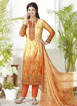 Ayesha Takia Yellow N Orange Straight Pant Suit