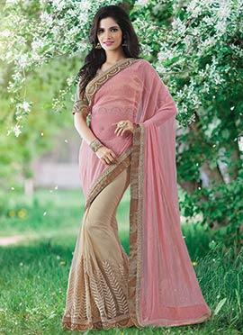 Baby Pink and Beige Half N Half Saree
