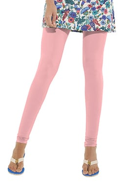 Go Colors Baby Pink Cotton Churidar Bottom