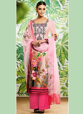 Baby Pink Digital Printed Palazzo Suit
