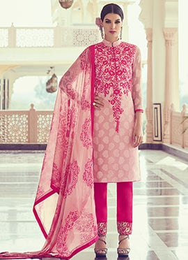 Baby Pink Embroidered Straight Pant Suit