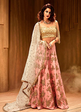 Baby Pink Embroidered Umbrella Lehenga
