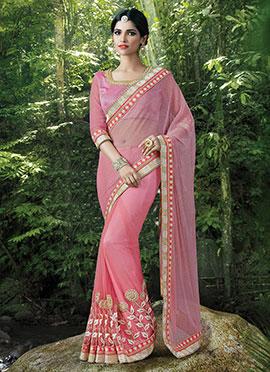 Baby Pink Net Saree