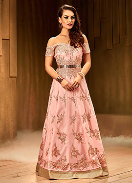 Baby Pink Off Shoulder Anarkali Gown