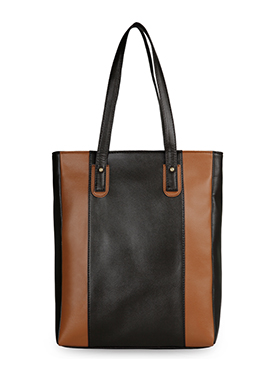 Bagsy Malone Black Brown Leather Tote Bag
