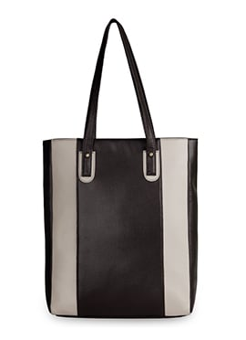 Bagsy Malone Black N Off White Leather Tote Bag