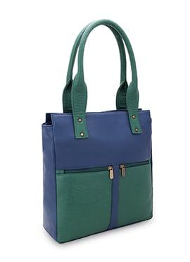 Bagsy Malone Green N Blue Leather Hand Bag
