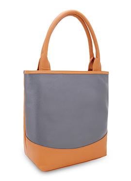 Bagsy Malone Grey N Orange Leather Hand Bag