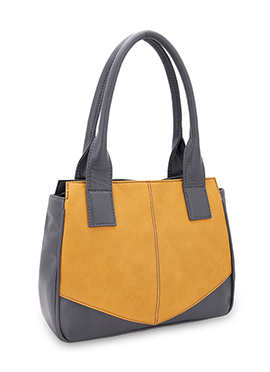 Bagsy Malone Grey N Yellow Leather Hand Bag