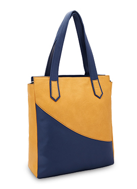 Bagsy Malone Yellow N Blue Leather Hand Bag