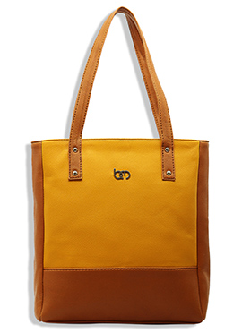 Bagsy Malone Yellow N Brown Leather Hand Bag