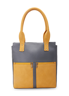 Bagsy Malone Yellow N Grey Leather Hand Bag