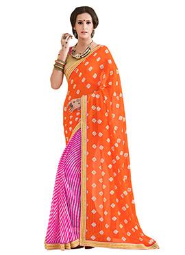 Bandhini N Leheriya Pattern Half N Half Saree