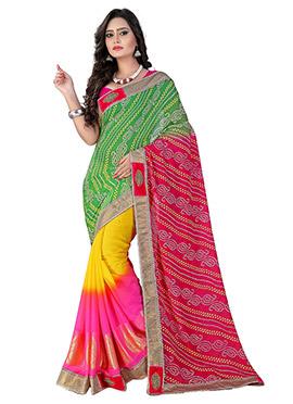 Bandhini Tricolor Half N Half Saree