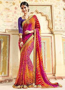 Bandini N Leheriya Patterned Half N Half Saree