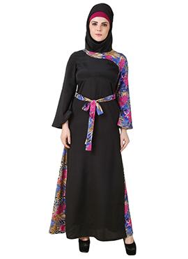 Barirah Black Printed Crepe Abaya
