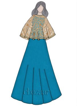 Barrier Reef Raw Silk Cape Style Gown
