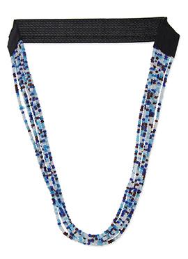 Bead Ornate Blue N White Tiara
