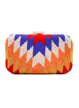 Beads Embellished Multicolor Stylish Box Clutch
