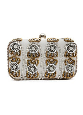 Beads Embellished Silver N Gold Stylish Box Clutch