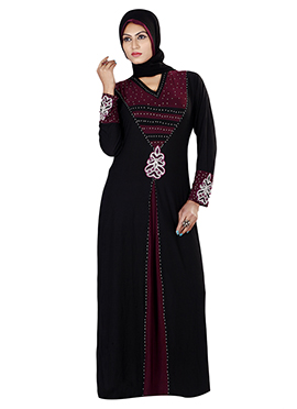 Beads Enhanced Lycra Abaya