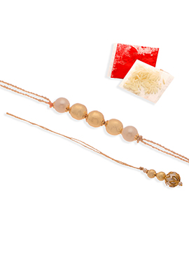 Beads Golden N Off White Rakhi