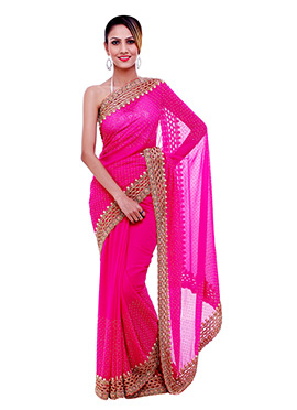 Beads N Cut Work Fuchsia Pink Saree