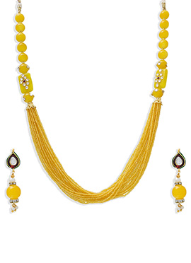 Beads Ornate Yellow Multilayered Necklace