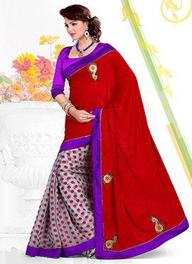 Bedazzling Grey N Red Half And Half Saree