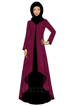 Beet Red Georgette Jacket Style Abaya